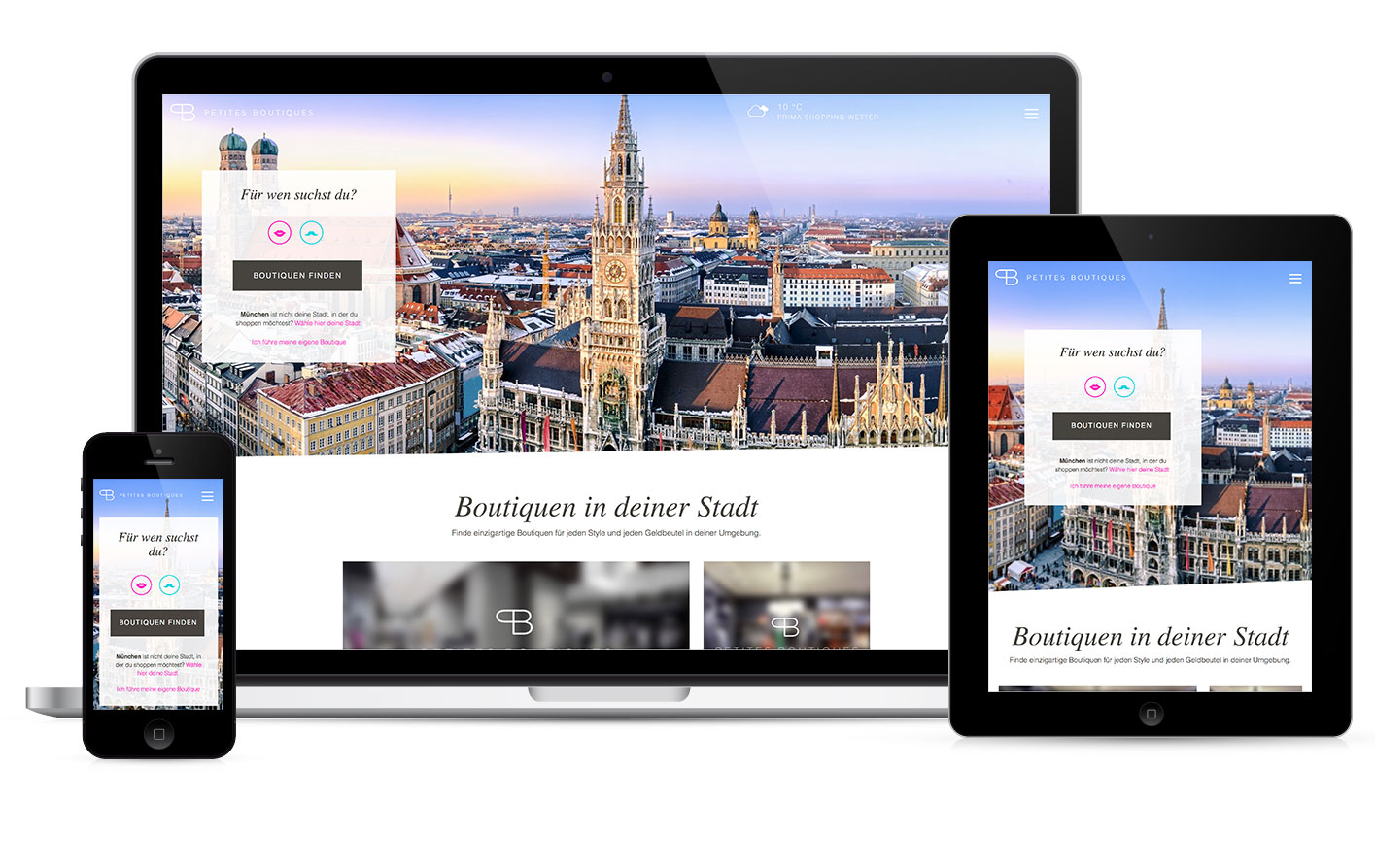 The Petites Boutiques web service is full responsive