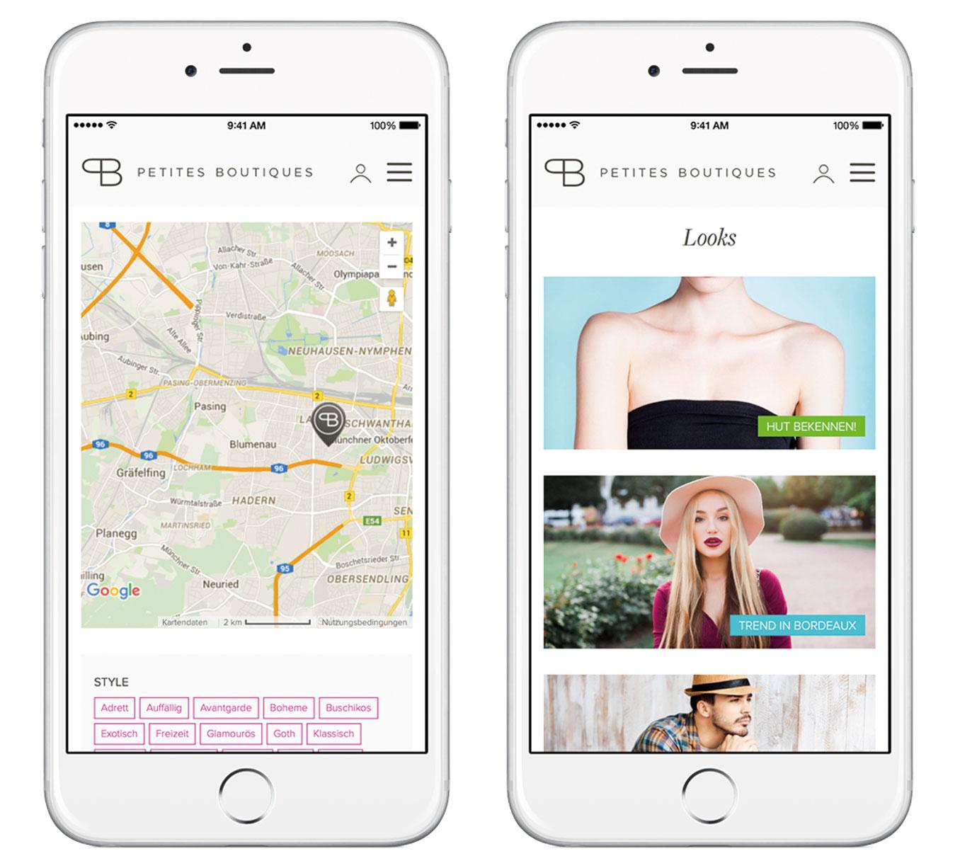 Screenshots of the Petites Boutiques App