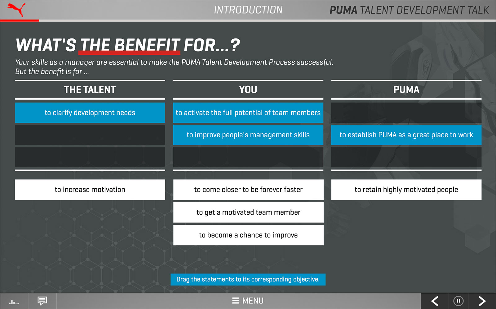 Screenshot PUMA Talent Development Talk 'What's the benefit for …?'