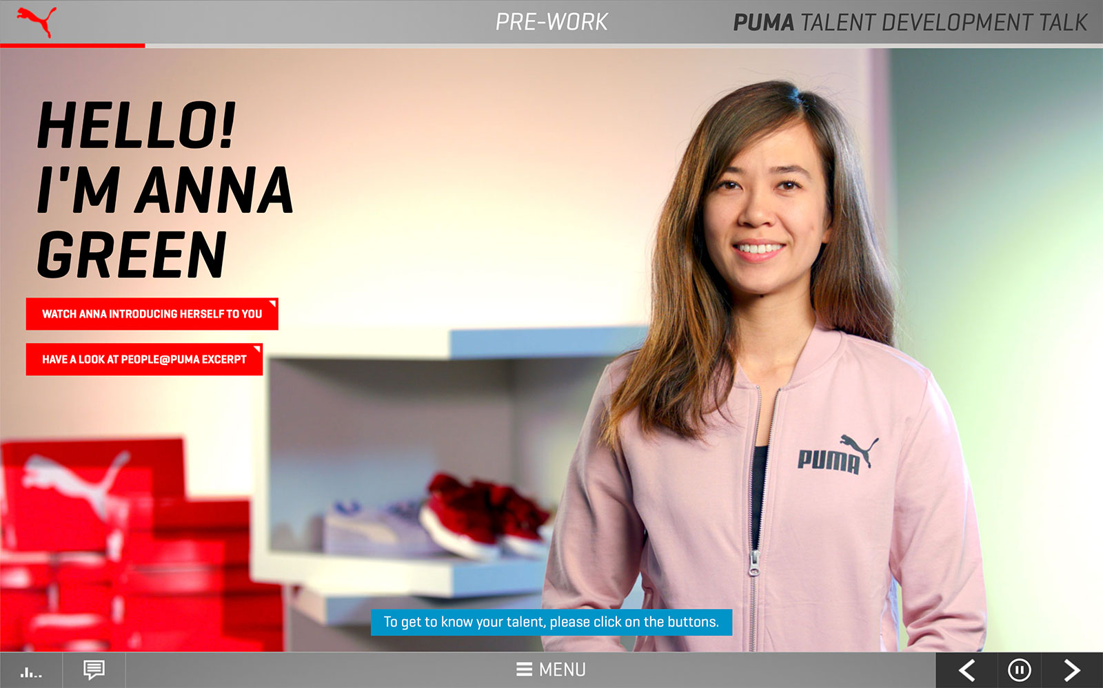Screenshot PUMA Talent Development Talk 'Hello! I'm Anna Green'