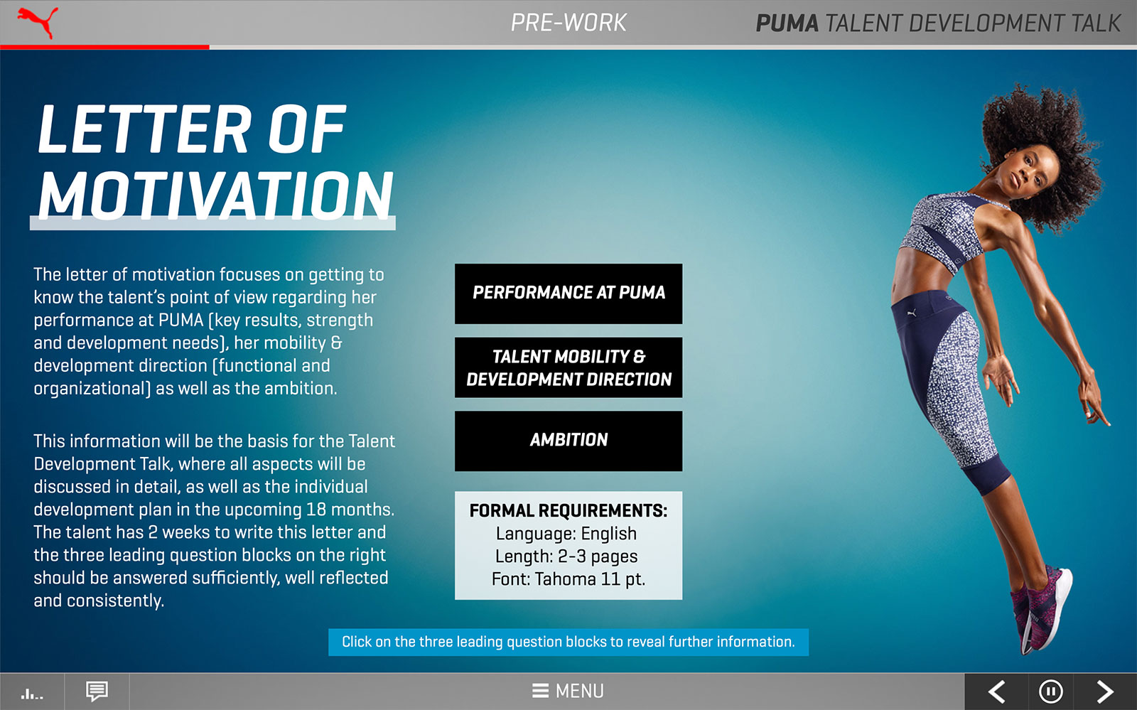 Screenshot PUMA Talent Development Talk 'Letter of motivation'
