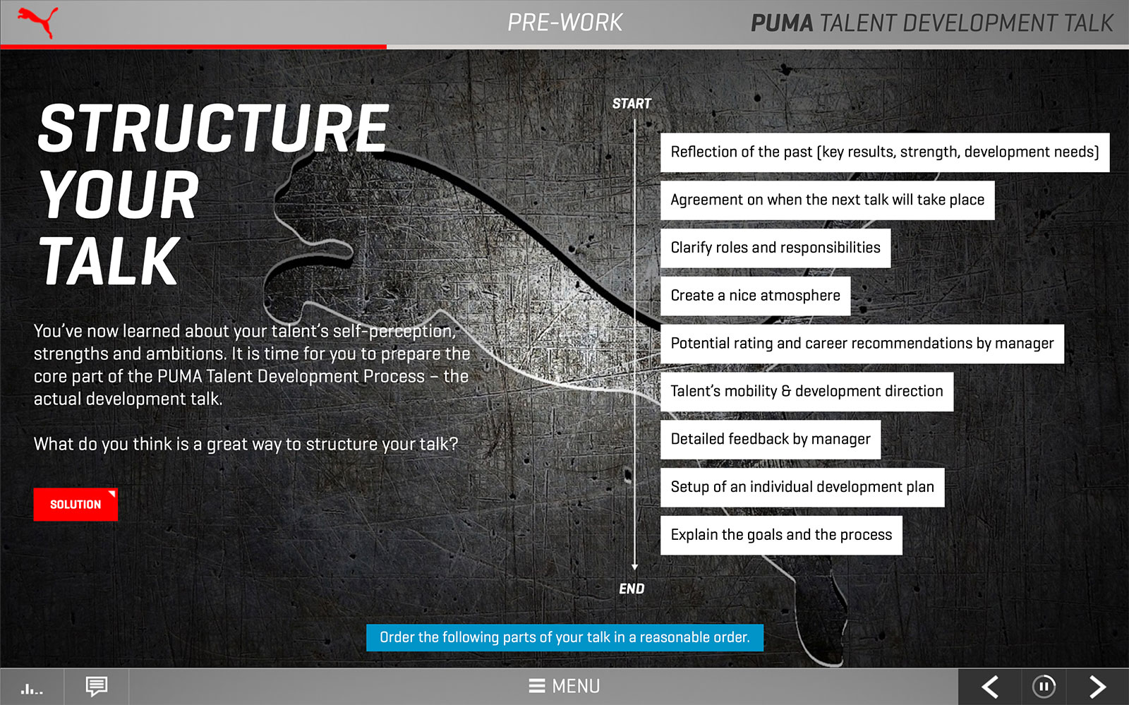 Screenshot PUMA Talent Development Talk 'Structure your talk'
