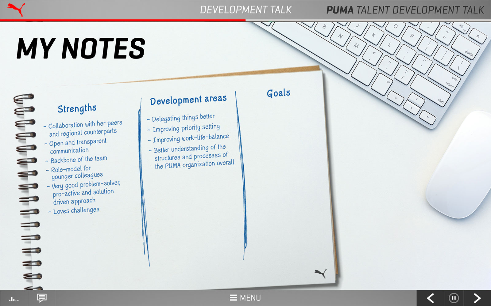 Screenshot PUMA Talent Development Talk 'My notes