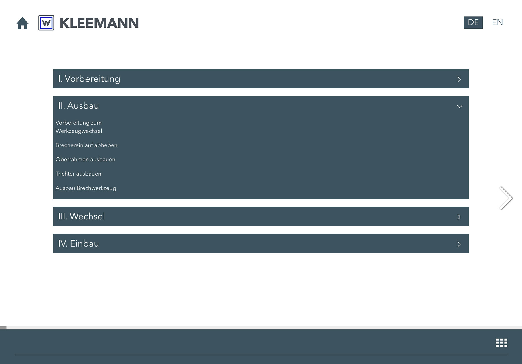 KLEEMANN Video Training Tool Contents
