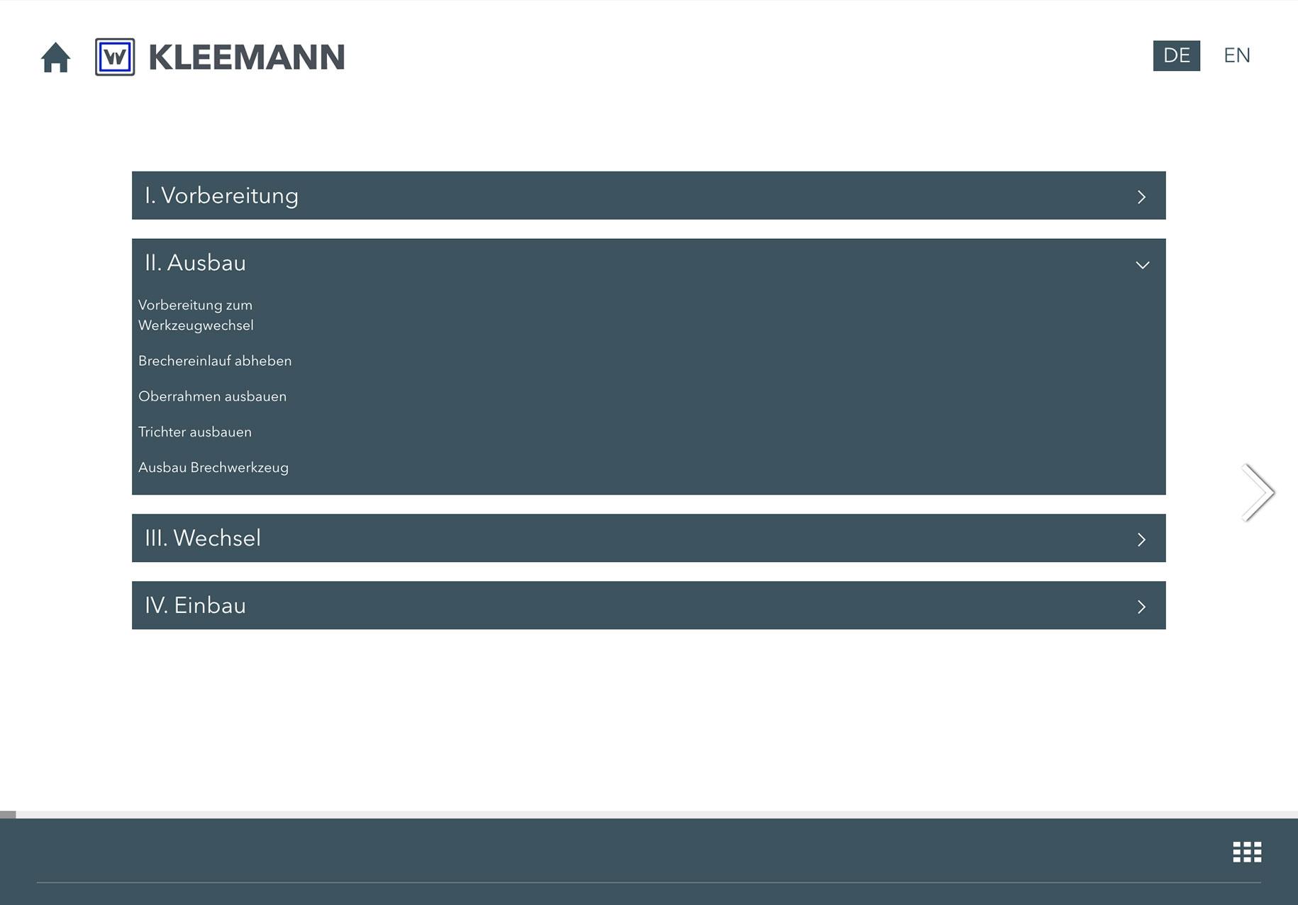 KLEEMANN Video-Schulungstool Inhaltsverzeichnis