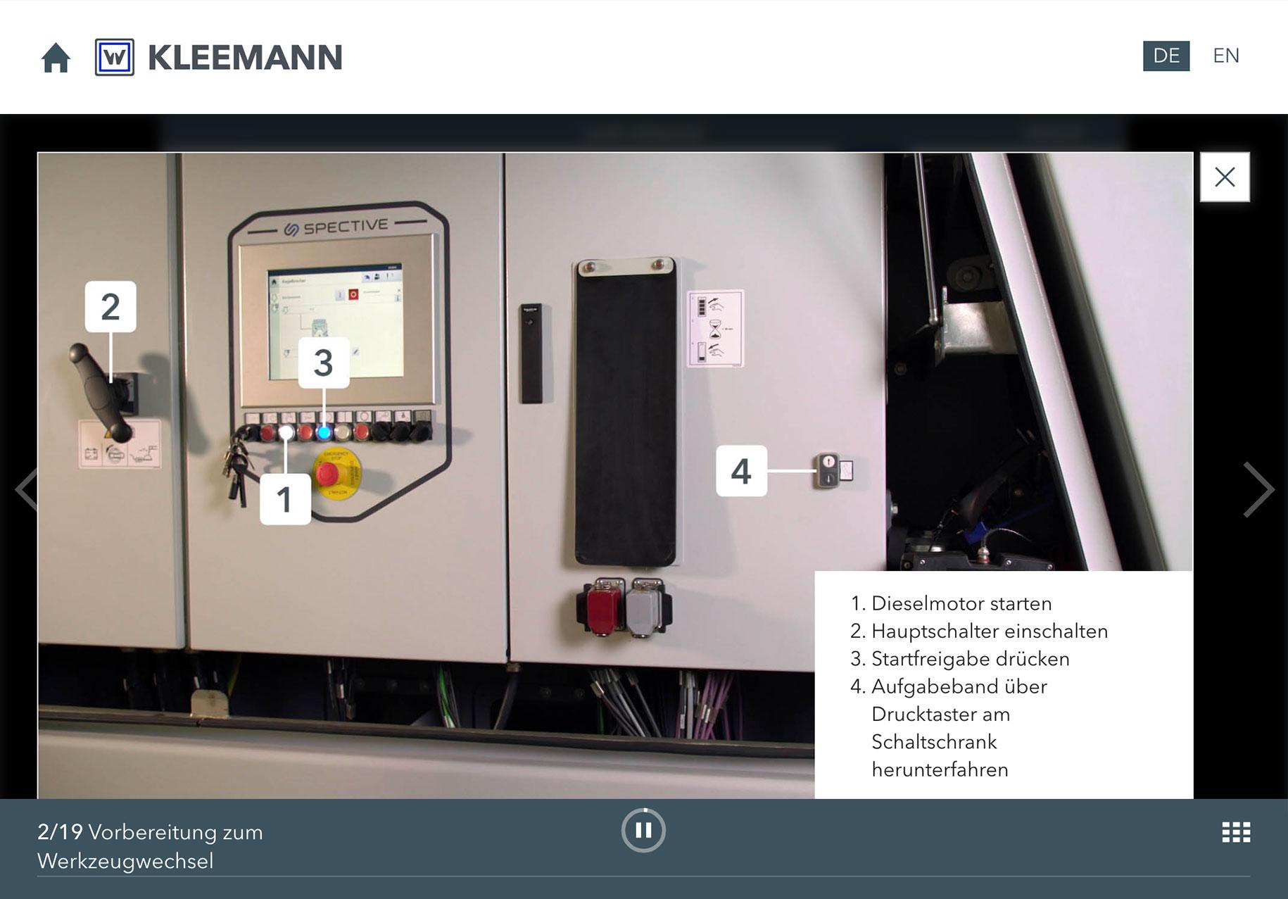 KLEEMANN Video-Schulungstool Darstellung Zusatzinformationen