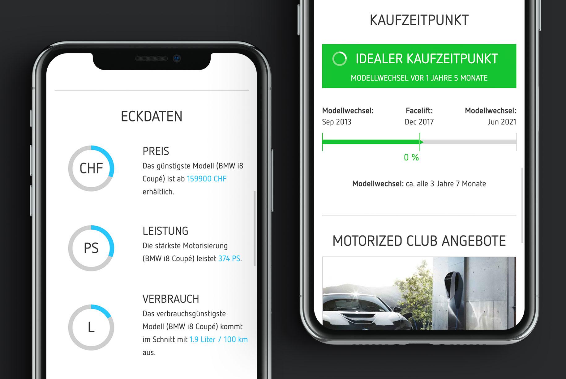 Mobile Darstellung der motorized Eckdaten und der Zeitleiste